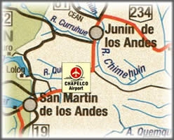 an area map showing San Martin de los town and Chapelco airport